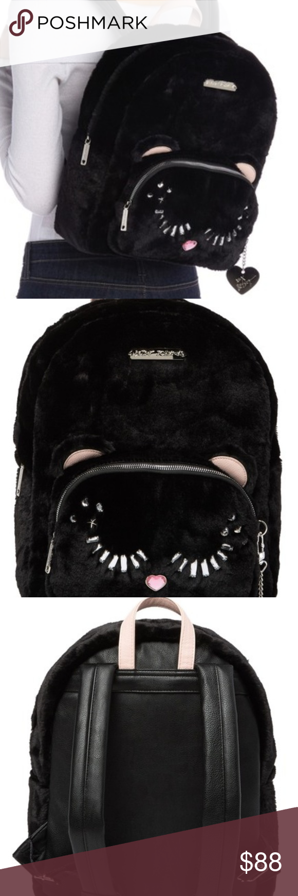 Betsey Johnson FUZZY FUR CAT BACKPACK NWT Betsey, Cat
