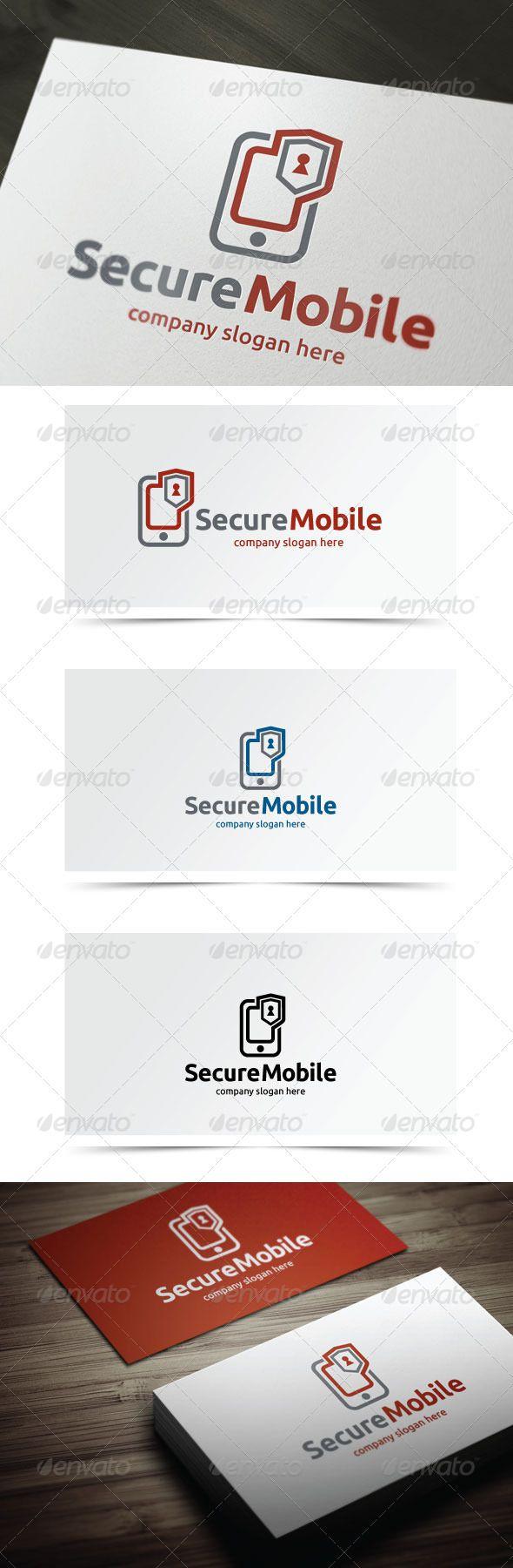 Secure Mobile Logo templates, Vector logo, Logo design