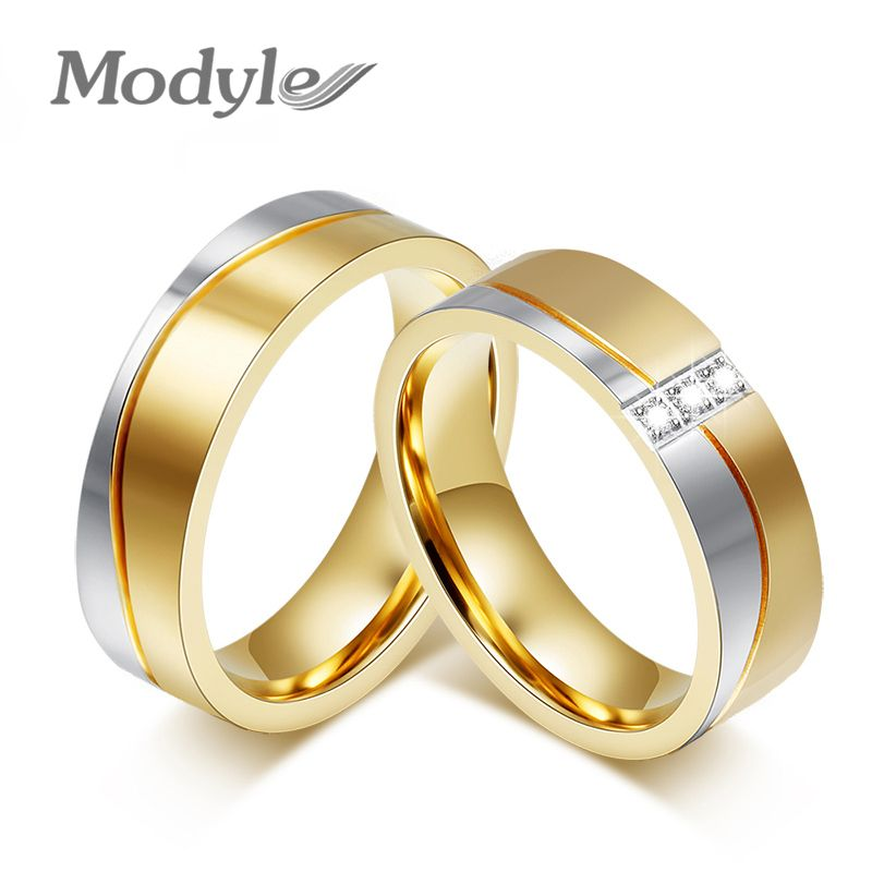 cheap wholesales stainless steel wedding ring with gold plated for man - Wedding Ring Price