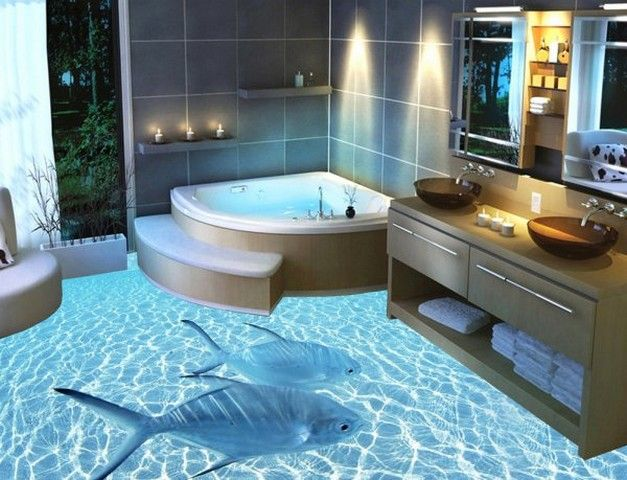 3d sticker tiles! and the bathtub looks pleasing! | bathroom ideas