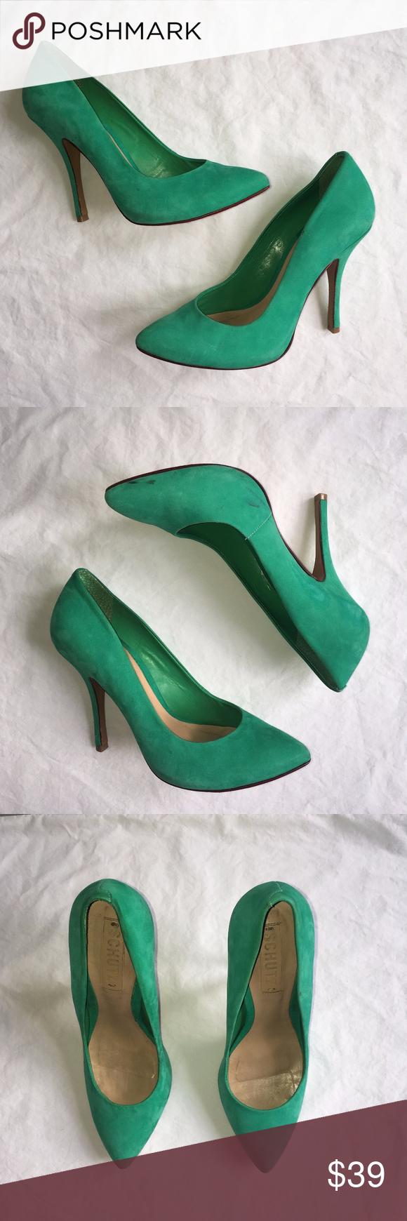 Schutz Suede Teal Green High Heels Size 8 Green High Heels Heels High Heels