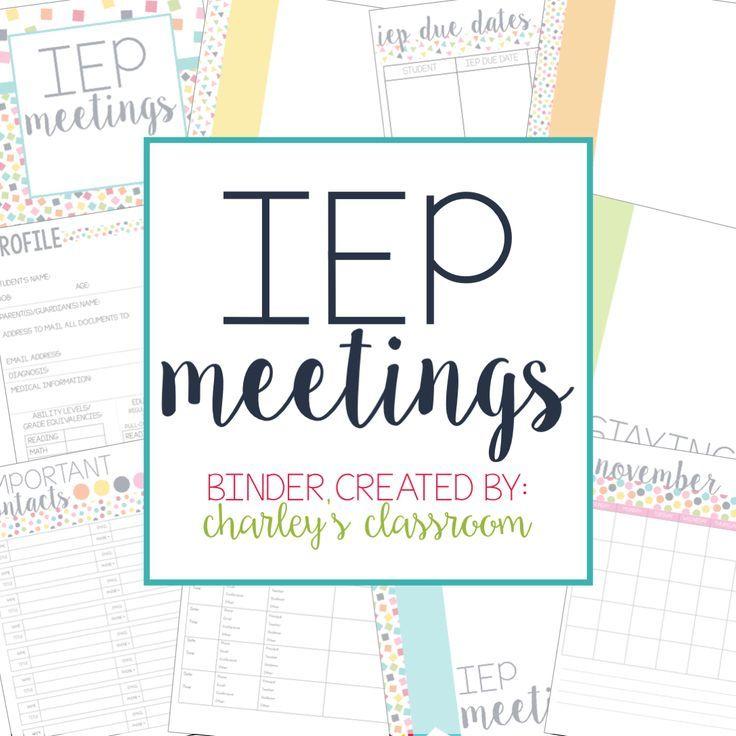 Editable IEP Meetings For The Year (RainbowConfetti