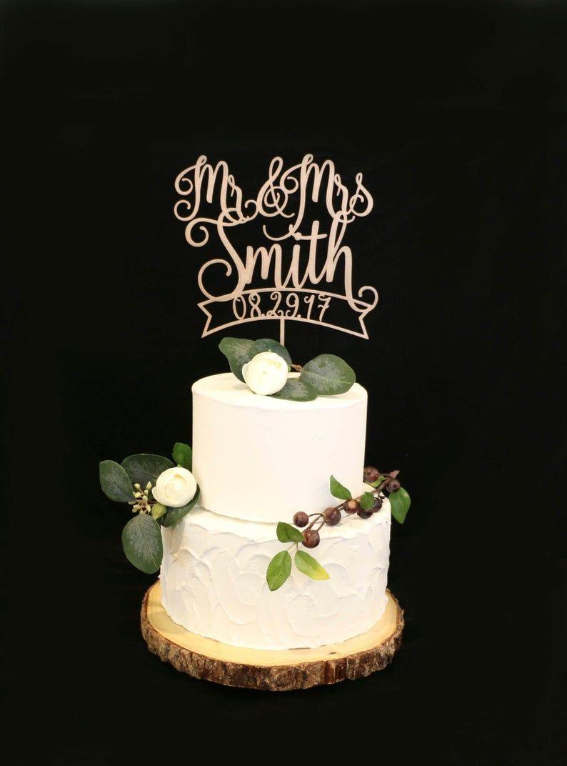 Custom wood rose metallic gold wedding cake topper with