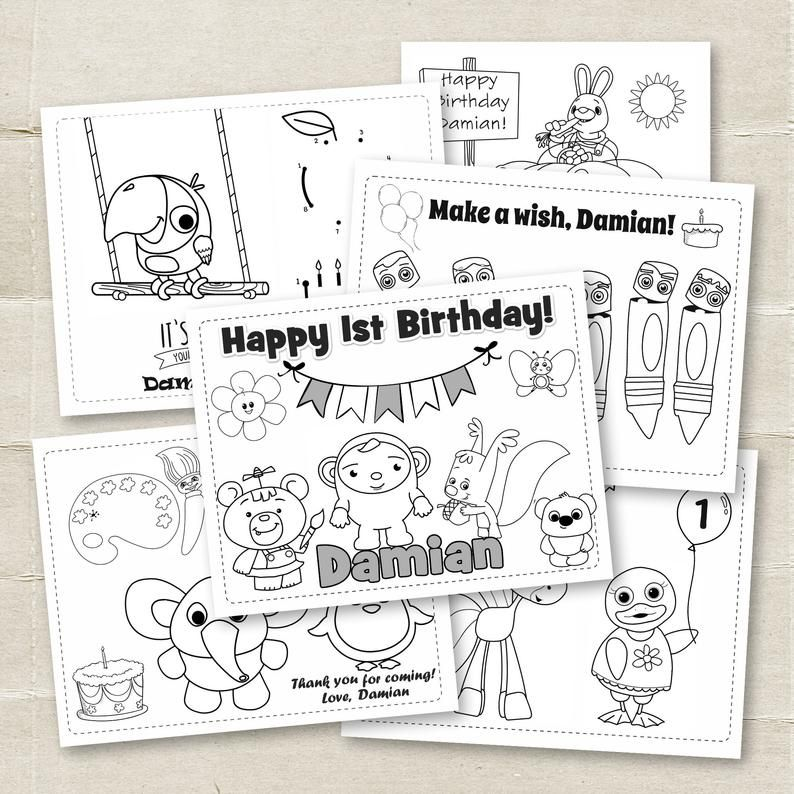 Digital Baby First TV Birthday Coloring Pages, 6 Printable ...