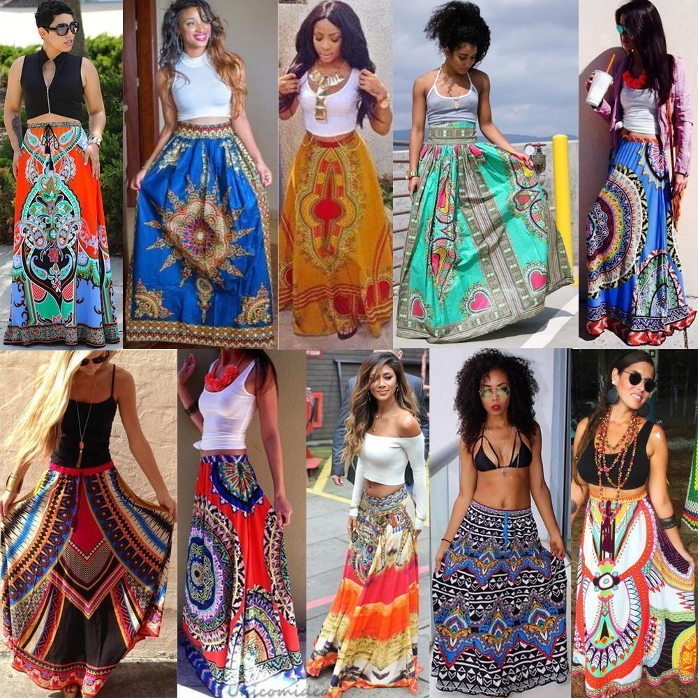 442a85eeba06 African Dashiki Print Women High Waist Boho Long Dress Traditional Pleated  Skirt | Clothing, Shoes