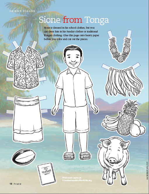 Friend Figure Sione From Tonga Lds The Friend Magazine Coloring Page Activity Day Girls Lds Coloring Pages Printable Activities