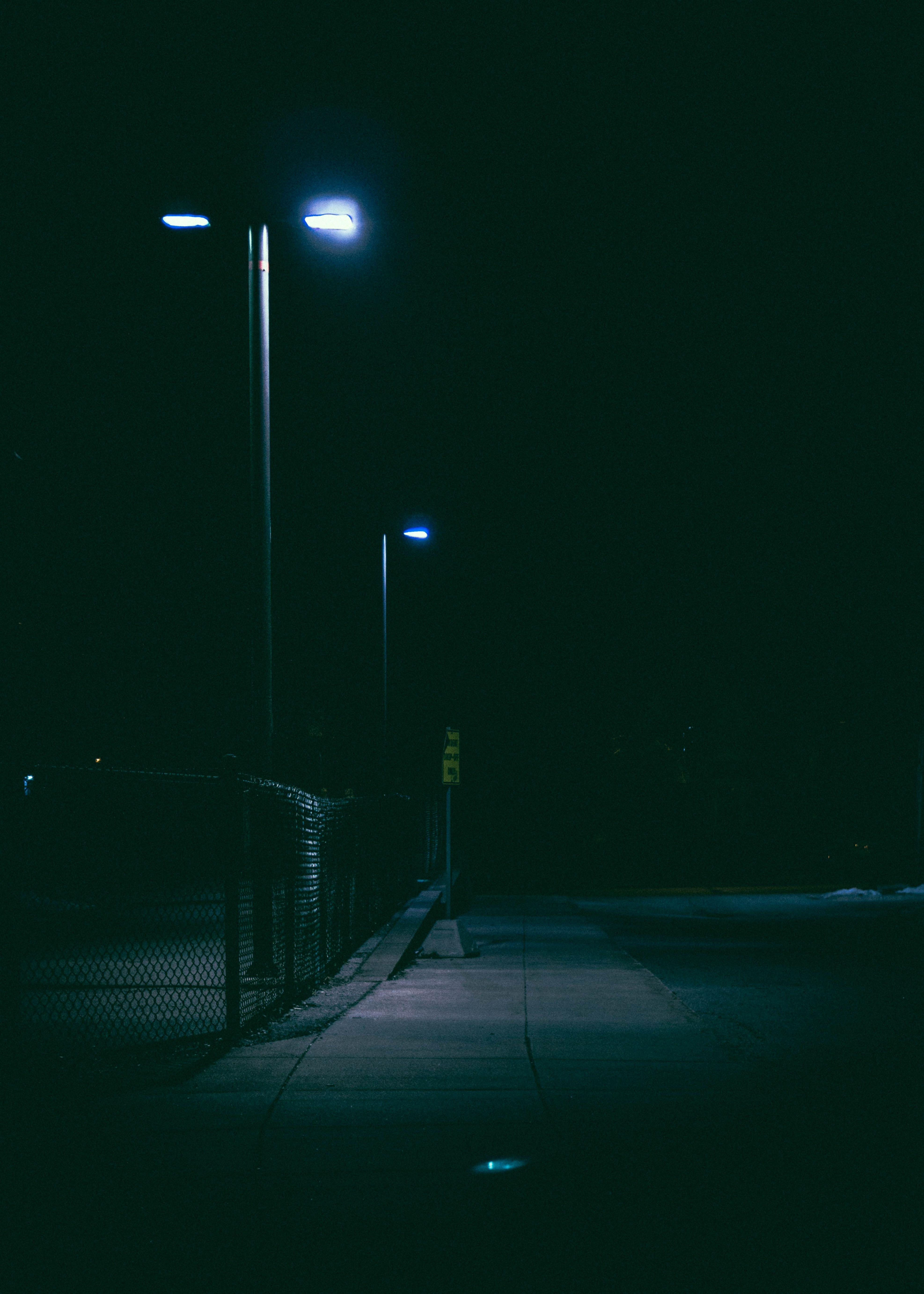 Lighted Street Post At Nighttime Street Light Night Time Night