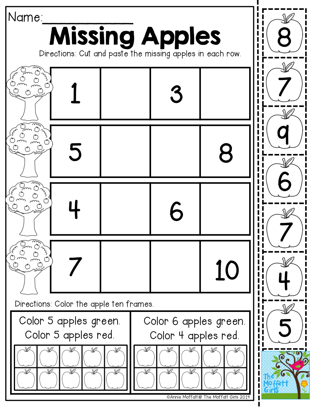 Missing Apples Cut And Paste The Apples To The Correct Spots Tons Of Back To School Printables