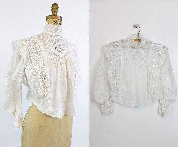 Edwardian blouse small antique white cotton eyelet blouse
