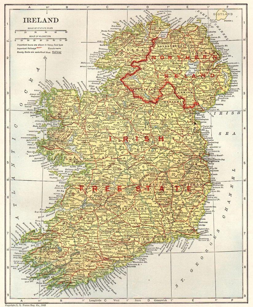 1928 Antique Ireland Map Original Vintage Map Of Ireland Irish Free