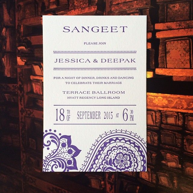 Regency Wedding Invitations: This #Indian #wedding Insert Card Is A #Sangeet Invitation