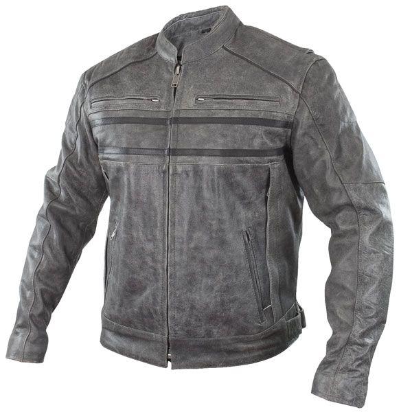 Mens Grey Stonewashed Retro Biker Style Strong 100/% Buffalo Leather Jacket SR-02