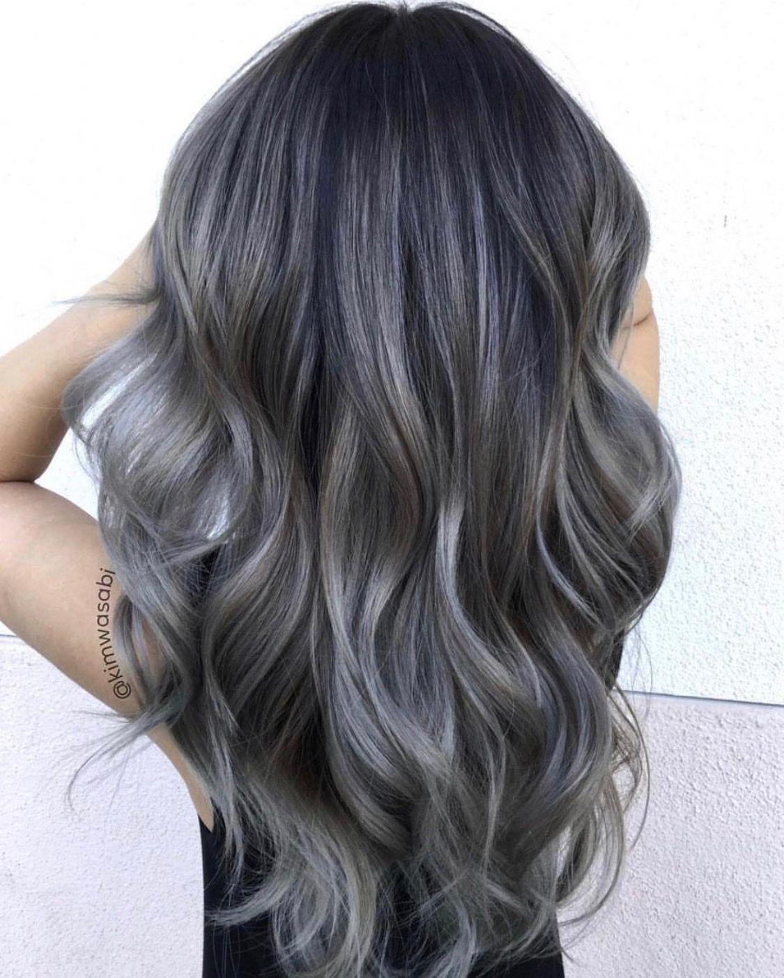 Ash Grey Balayage Grey Hair Dye Balayage Hair Grey Charcoal Hair