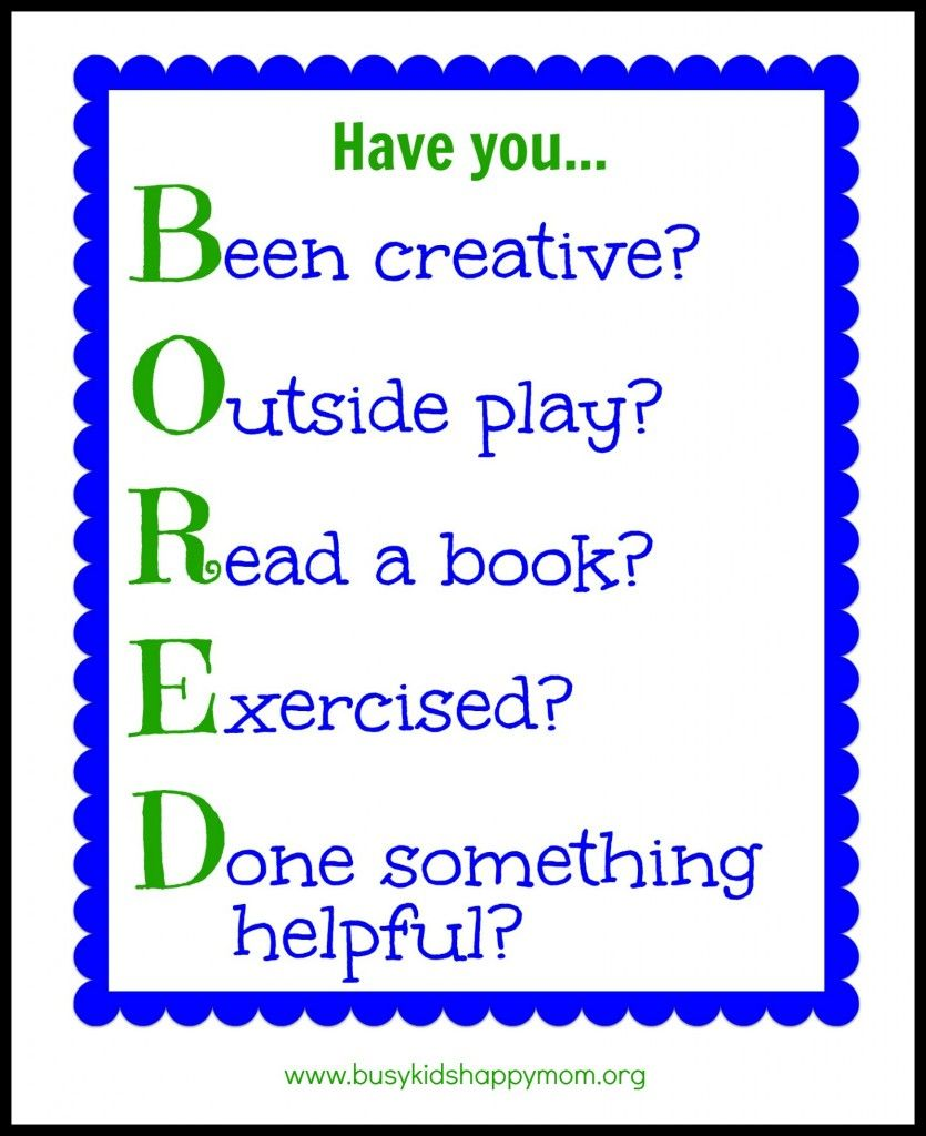 Bored Activity Chart With Printable B Been Creative O Outside