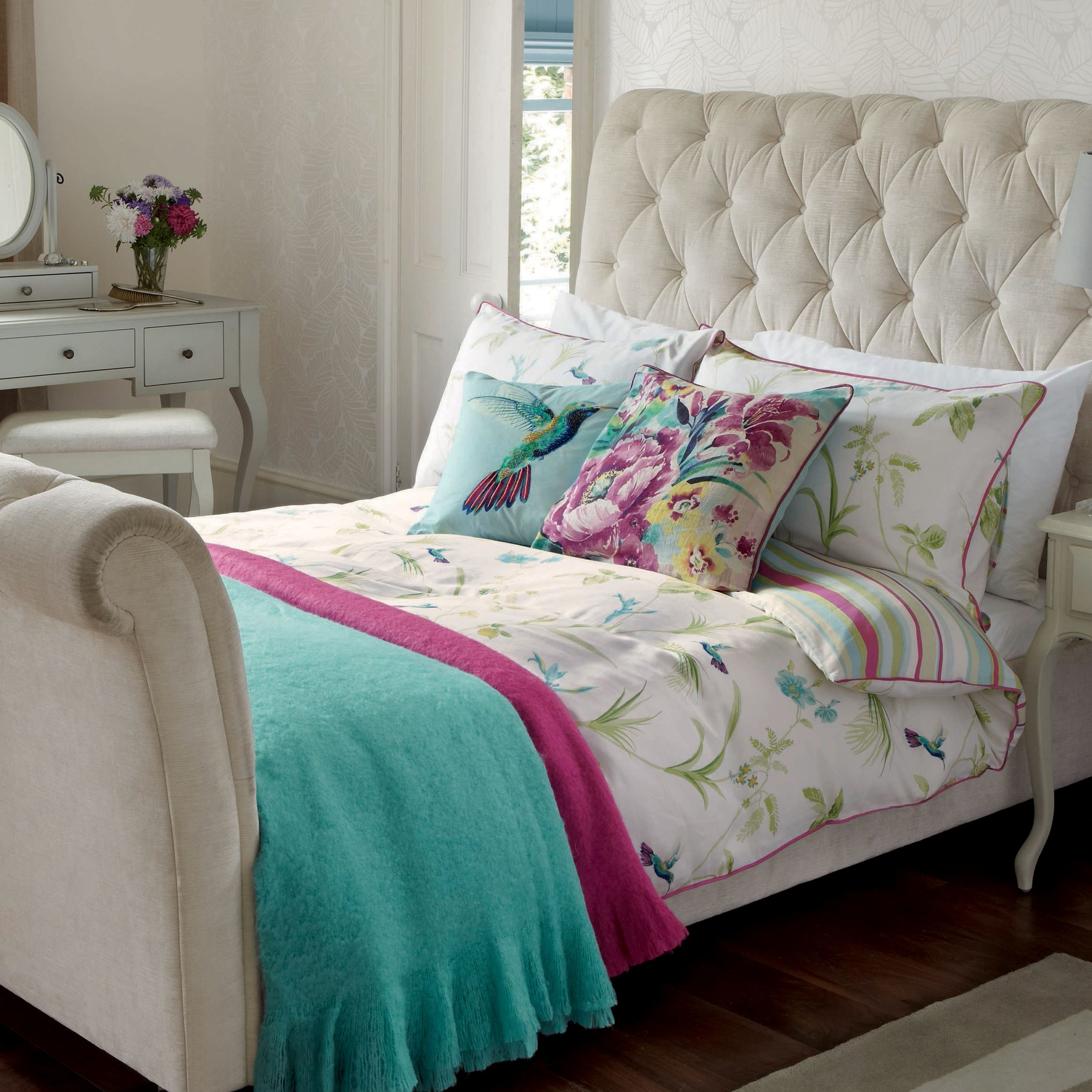 Hummingbird Bed Linen Part - 39: Orchid Print Duvet Cover At Laura Ashley