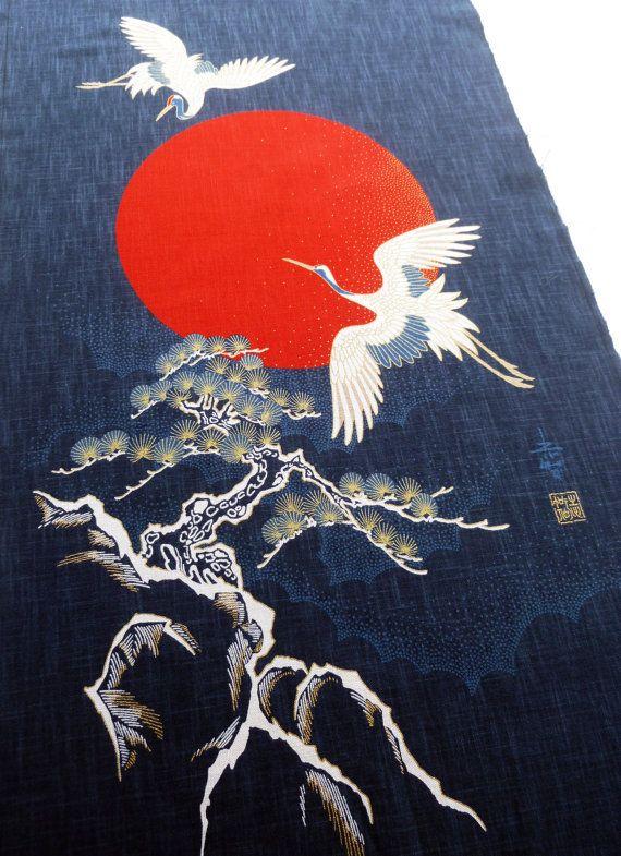 """Japanese /'NOREN/' Print-Tapestry Wall-Hanging /""""MOMOTARO/"""" Indigo Made in Japan"""