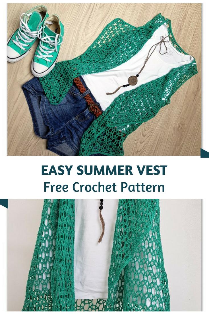 91b0374406b30 Easy Crochet Summer Vest Pattern | crochet | Crochet vest pattern ...