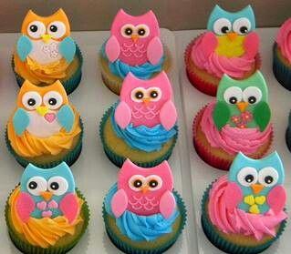 Owl cupcakes by Cakebaker on fb Cupcakes N Cake N Cookies Too