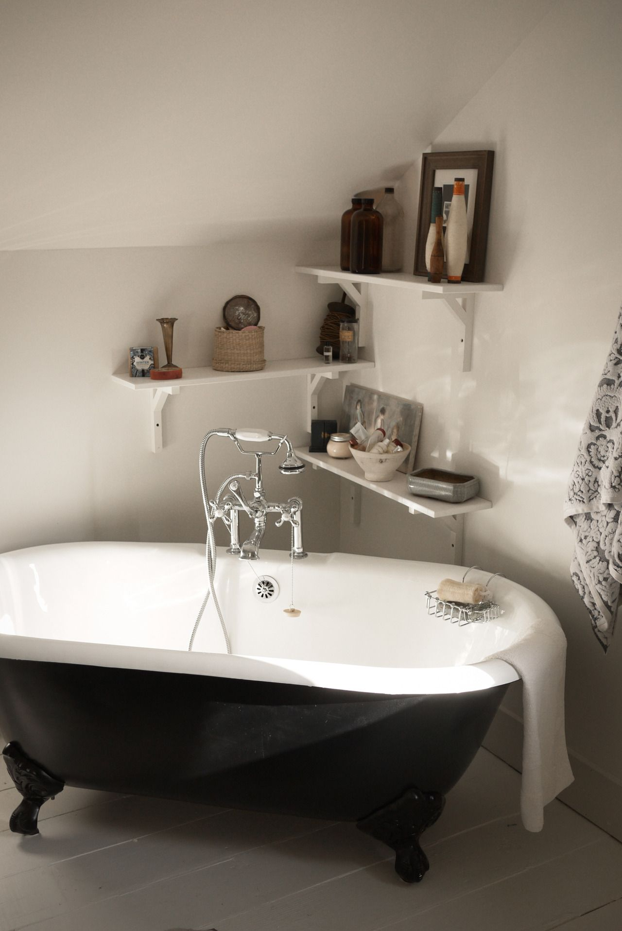 I love the shelves with the free-standing tub. | Our New Master Bath ...
