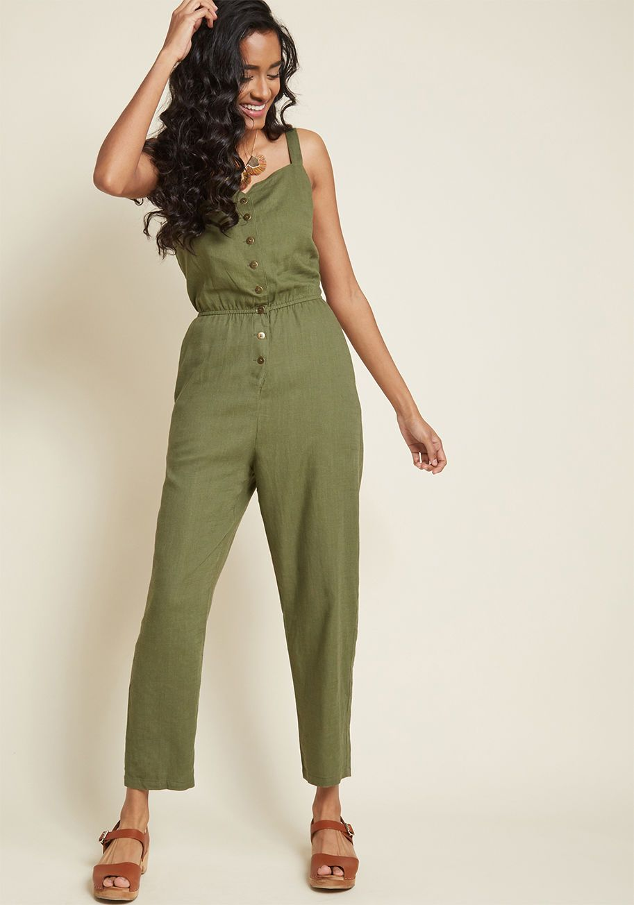 3bfa5bb757d Every Waking Momentum Cotton-Linen Jumpsuit in Olive