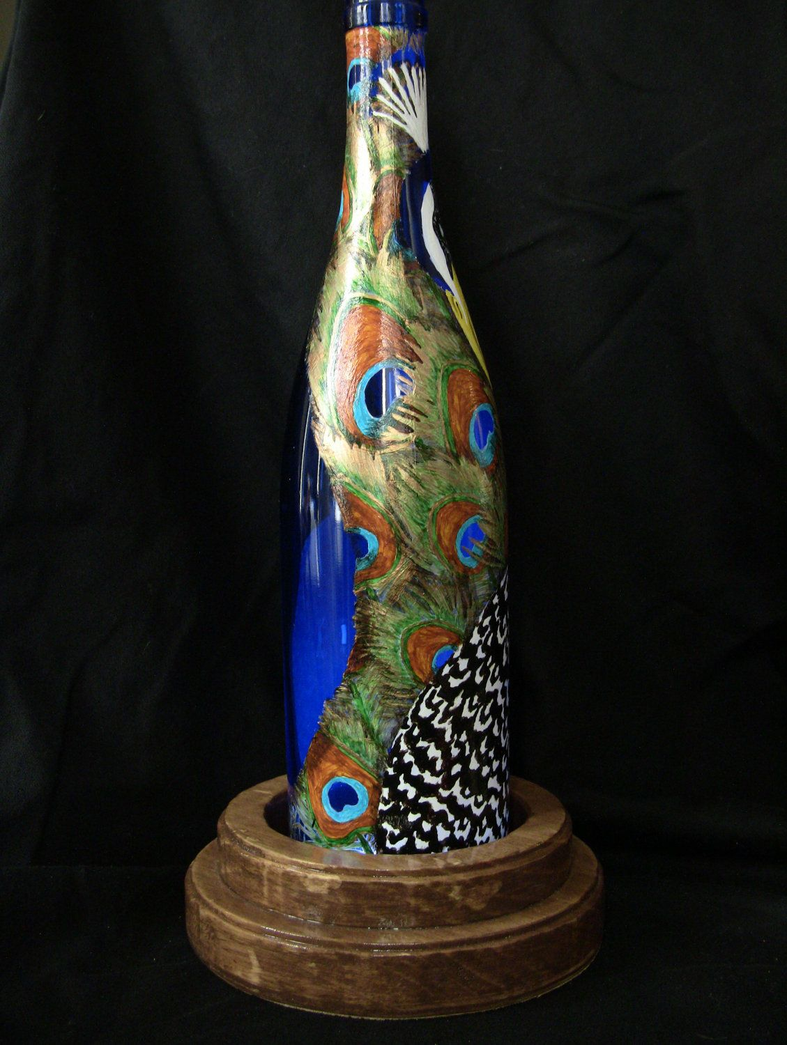 Painting Glass Lamps Hand Painted Peacock Wine Bottle Lamp Peacocks Bottle And Wine