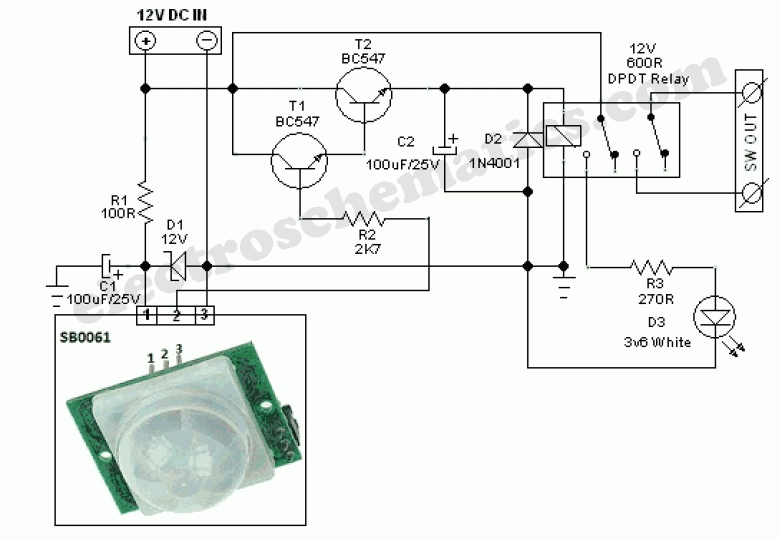 Pir Led Security Light Circuit Motion Sensor Lights Electronic Circuit Design Sensor