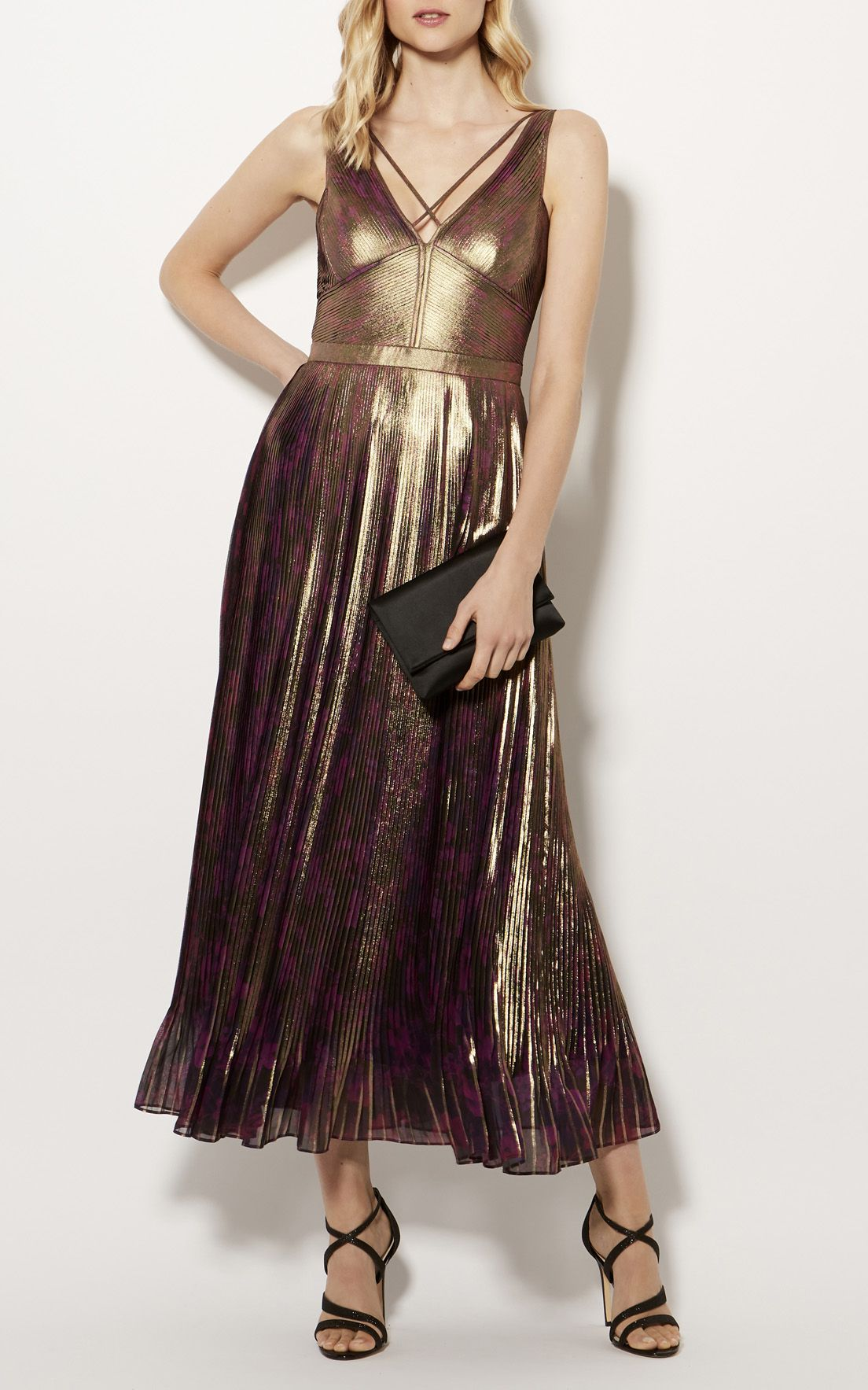 ebb58358a8 Karen Millen, METALLIC PLEATED MAXI DRESS Multicolour | All About ...