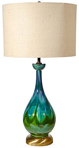 One Kings Lane Vintage 1960s Green Drip Glaze Table Lamp 2 B Modern Vintage Table Lamp Table Lamp Lamp