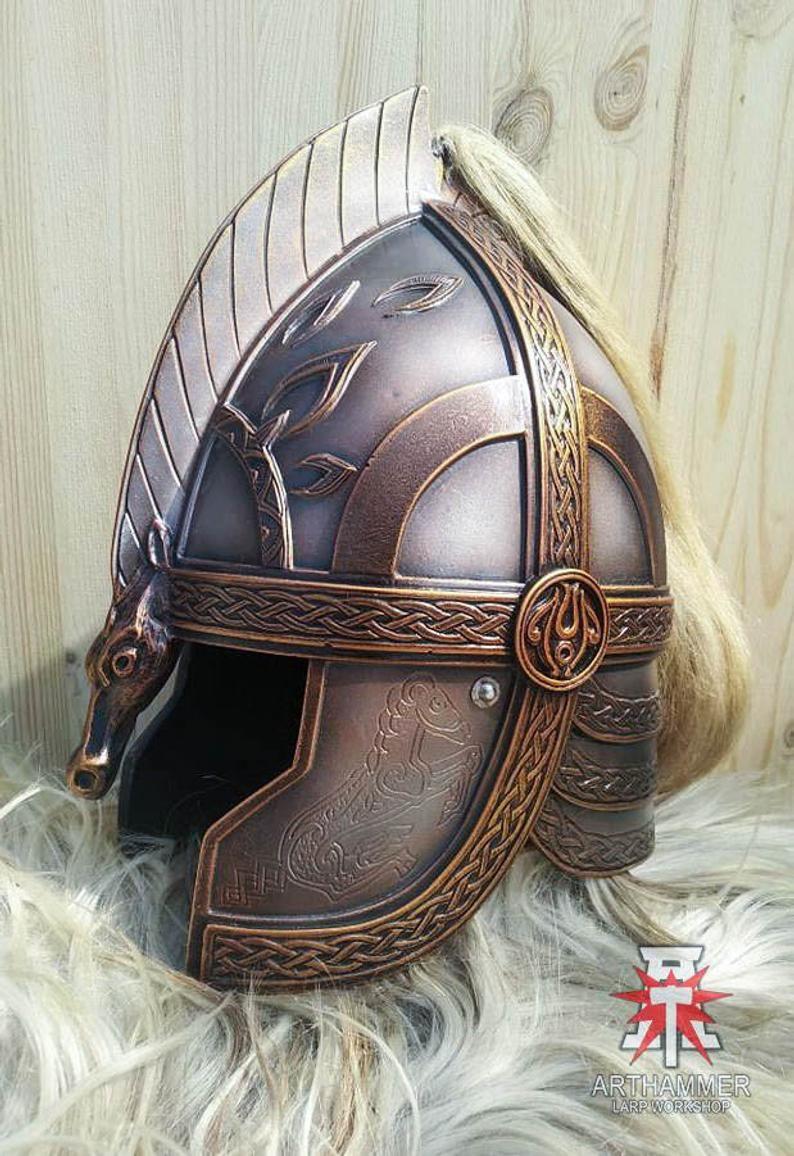 Rohan Helmet, LARP and Cosplay, Knight Head Armor, Fantasy