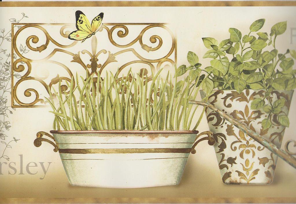 Kitchen Wallpaper Border / Modern Herbs Wall Border / Brown Trim