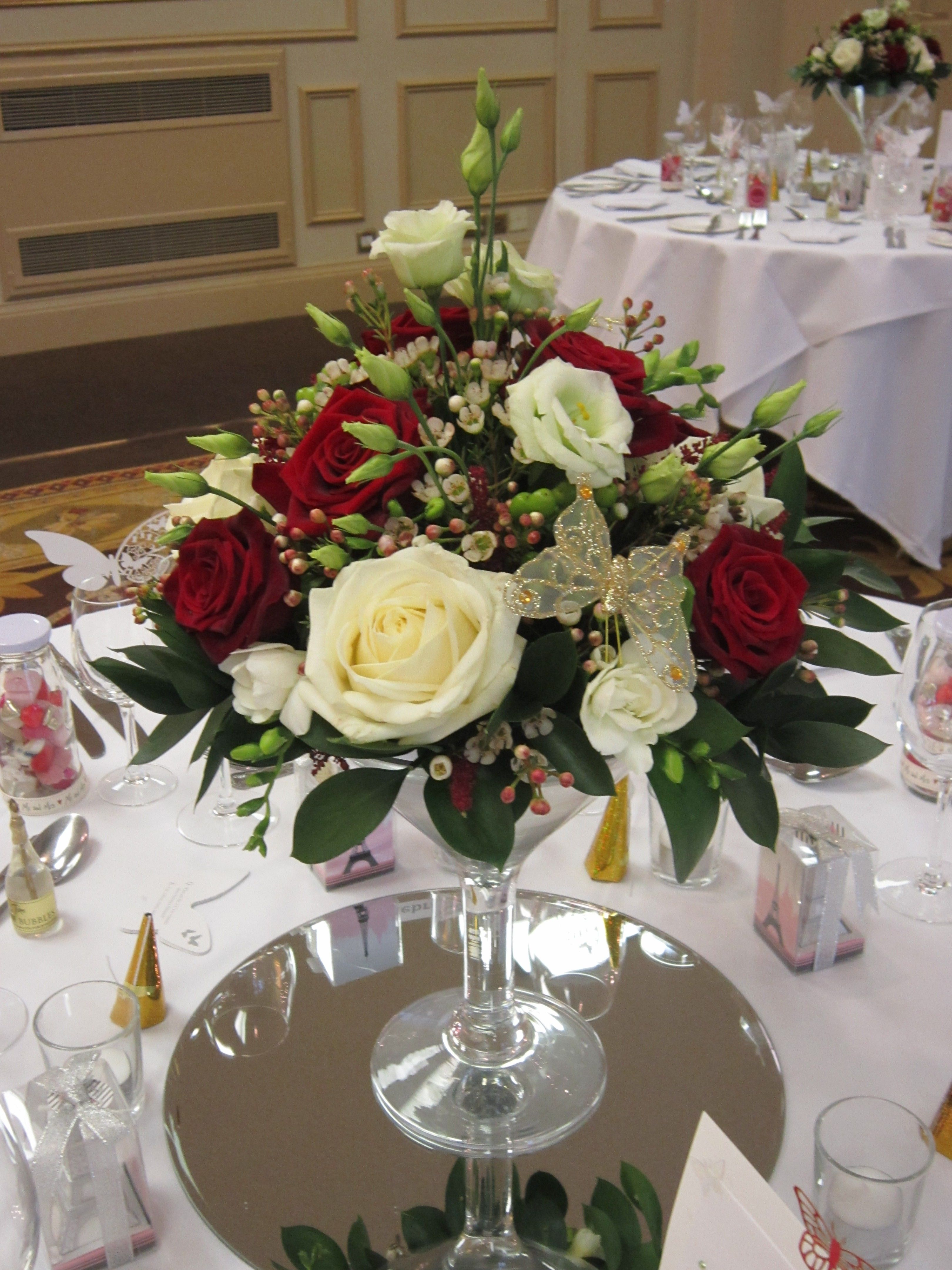 Low martini vase display centrepieces pinterest