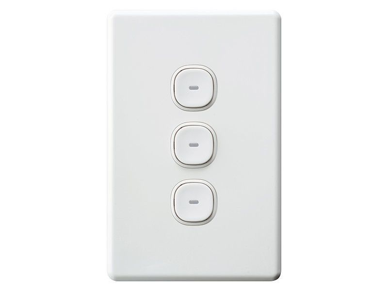 Clipsal Slimline Impress 3 Three Gang Triple Push Button Ligh Switch Sc2033vapbl Light Switch Switch Buttons