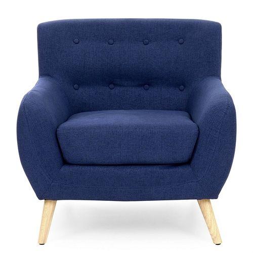 Best Dark Blue Linen Upholstered Tufted Armchair W Modern Mid 640 x 480