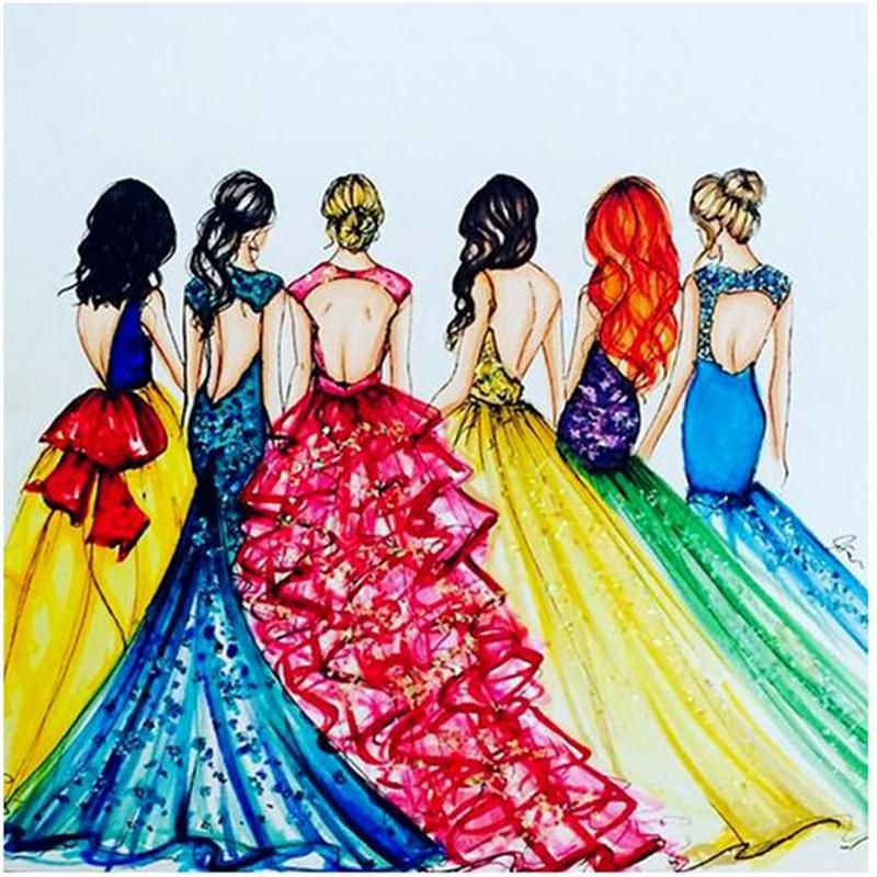 5D DIY Diamond Painting beautiful princess, fashion cartoon