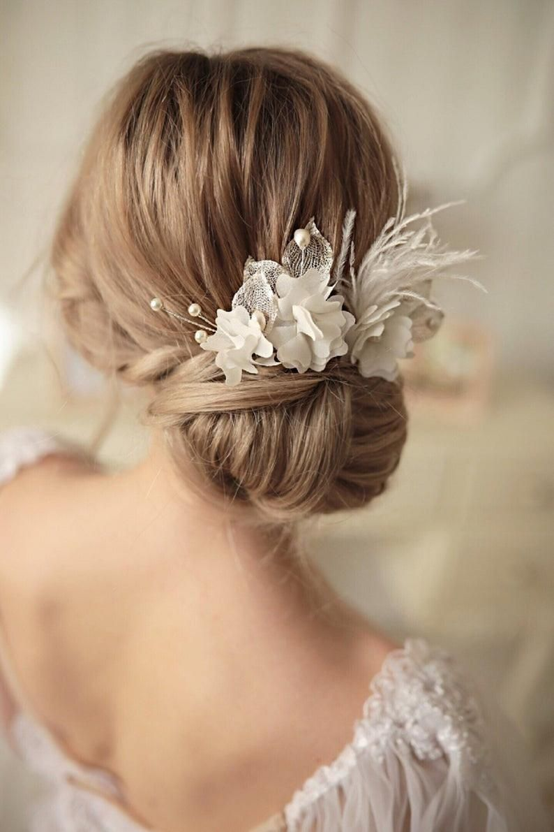Wedding hair pins with silk flowers Flower bobby pins White   Etsy ...