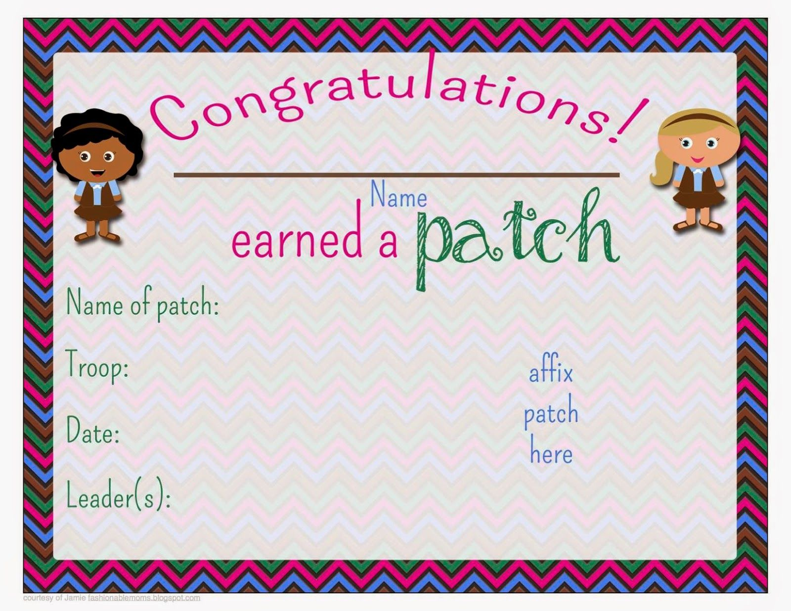 Free Printable Patch Earned Certificate