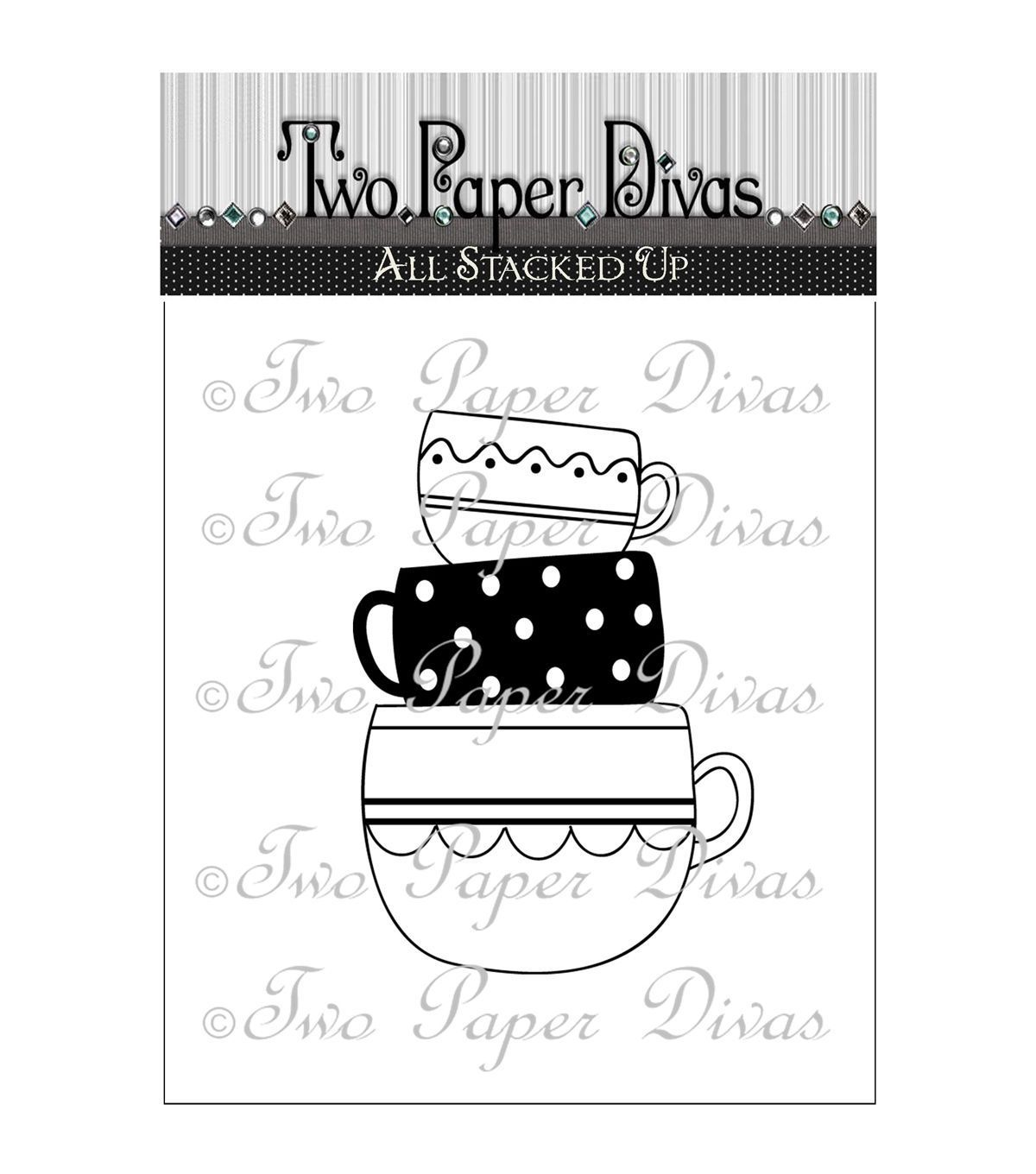 Two Paper Divas Clear Stamps-All Stacked Up