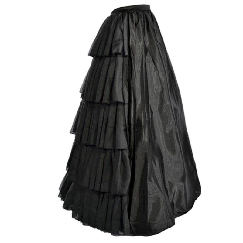 becb73af0d9e38 Lange zwarte satijnen rok met plooien Steampunk Korset