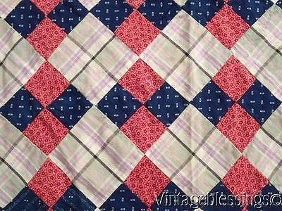 ANTIQUE c1880 Indigo Blue Double Pink QUILT TOP Wonderful Pattern