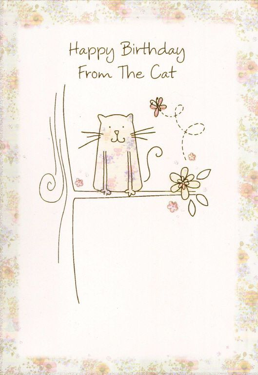 From The Cat Happy Birthday Card From Pet Kitten Happy Birthday