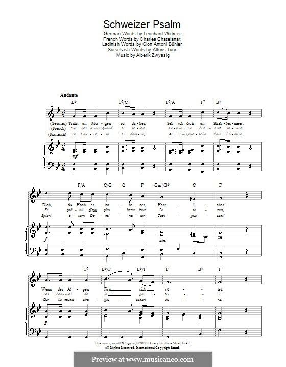 Schweizer Psalm (Swiss National Anthem): For voice and piano (or ...