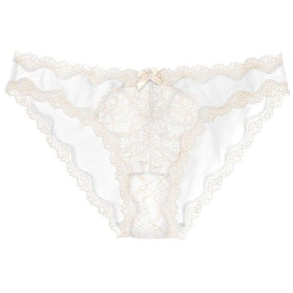 445d0eacc1e4 Victoria's Secret Dream Angels Lace-Trim Cheekini Panty Small VS White...  ($22) ❤ liked on Polyvore featuring intimates, panties, white panties, ...