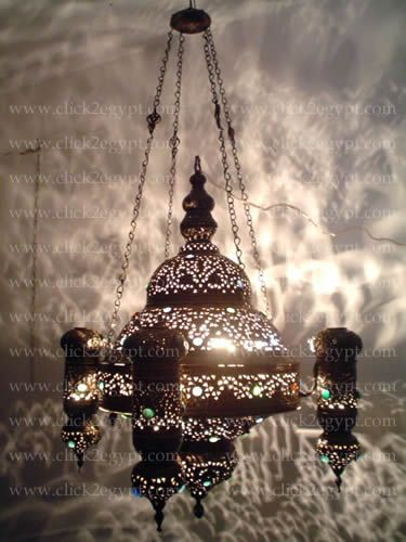 Antique Style With Gems Islamic Hanging Chandelier Light Fixture