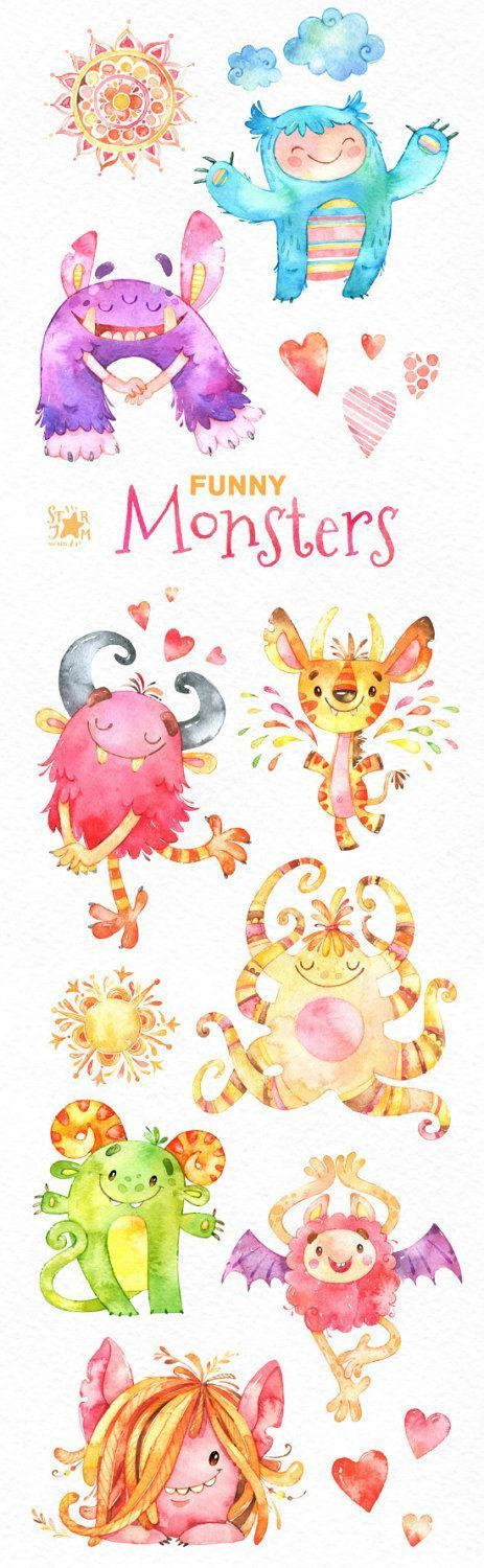 Funny Monsters Watercolor Clip Art Cute Characters Happy