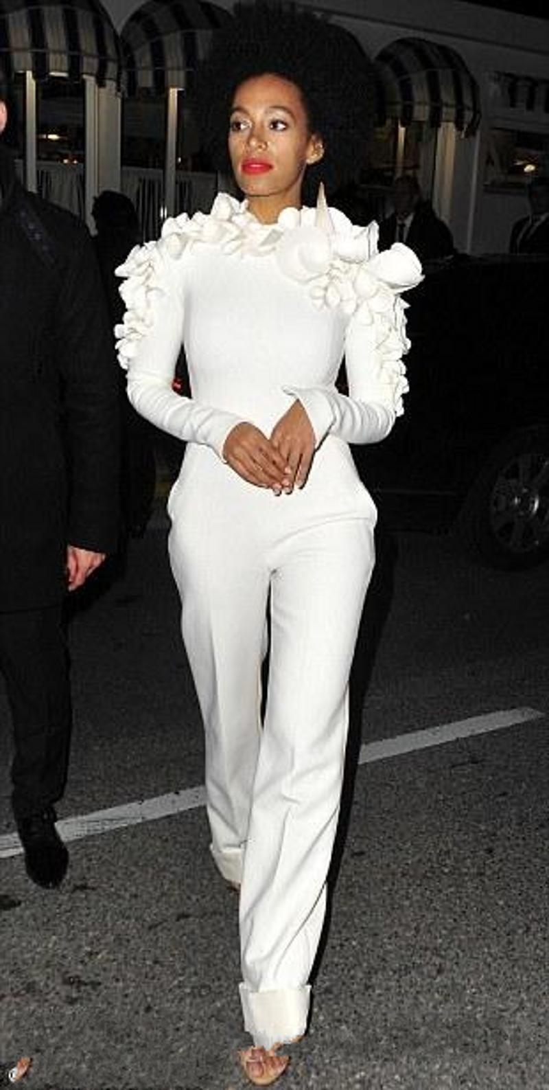09f81191474e8 2018 New Arrival Celebrity Dresses White Leg Jumpsuit Long Sleeves ...
