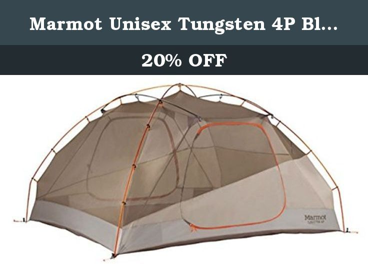 Marmot Unisex Tungsten 4P Blaze/Sandstorm Tent One Size. When you're sharing a tent with three other people, space is essential. Marmot's Tungsten 4p 4-Person 3-Season Tent utilizes a volume optimizing design to more efficiently increase livable area inside the tent. Two D-shaped doors make for quick exits when nature calls throughout the night, and two large vestibules provide plenty of dry storage space for gear. The inside of the tent is fitted with multiple pockets for small items, as...