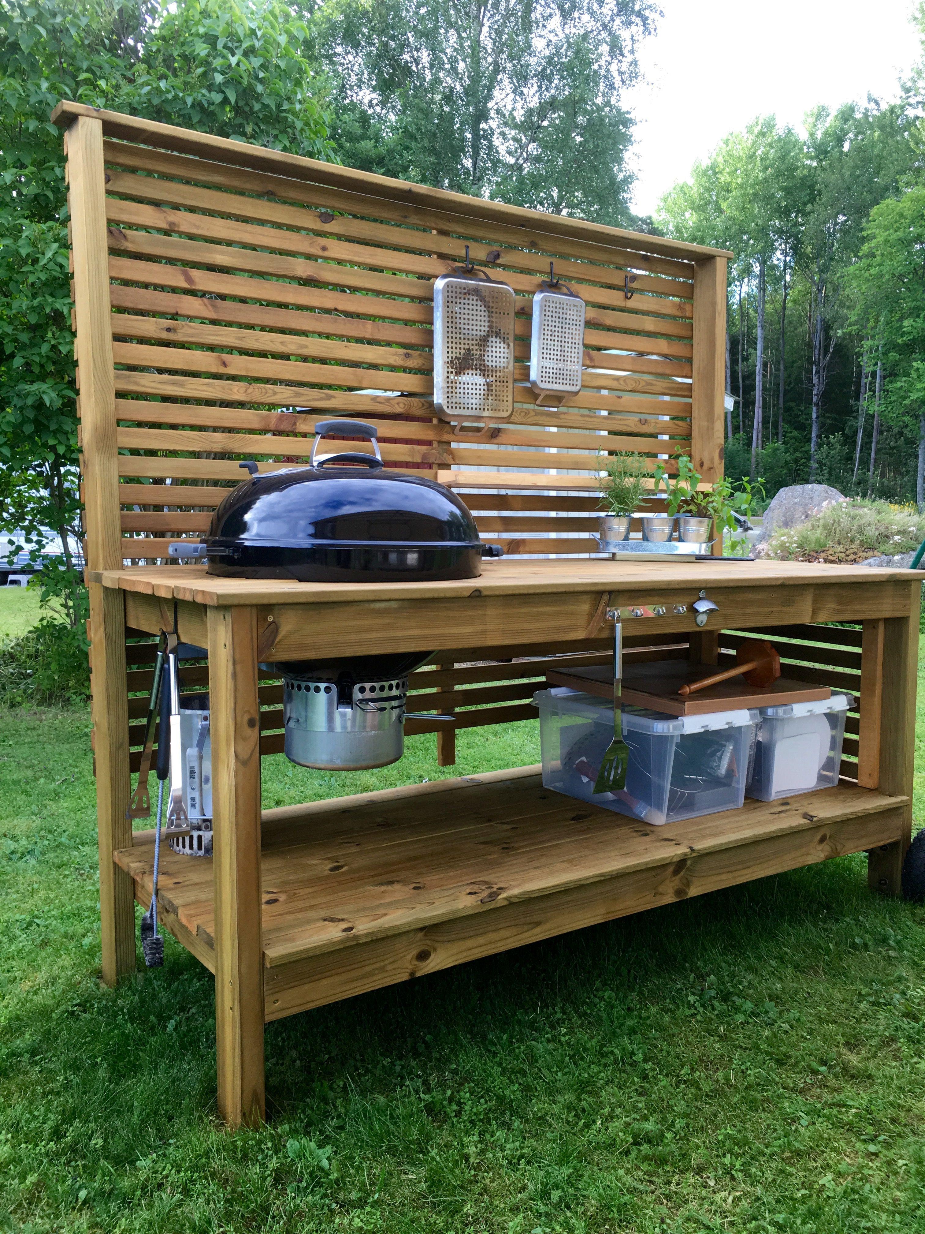 Weber grill table utekök trädgård outdoor kitchen ... on Diy Patio Grill Island id=98128