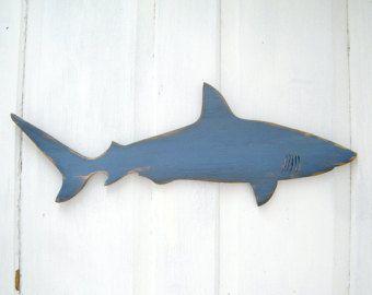 Wood Shark Sign Small Wall Art Mako Shark Sign Beach Coastal ...
