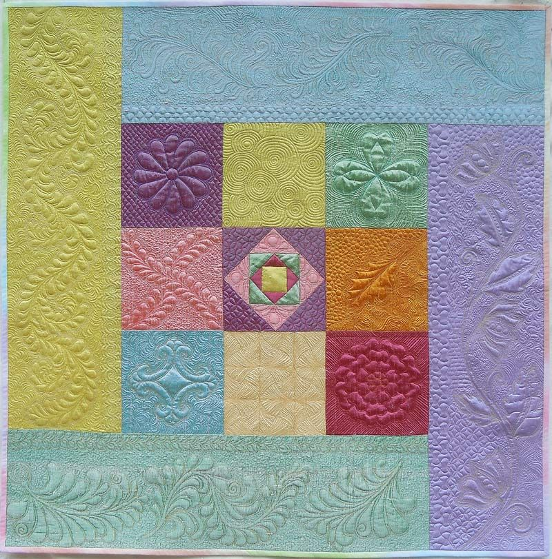 """I got a littledrool on this one  """"Silk Fantasy A La Diane"""", 32 x 32"""", by Sally Gould Wright.  Silk dupioni, free motion quilted in silk threads."""