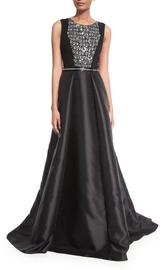 Carmen Marc Valvo Sleeveless Beaded Combo Gown, Black $1,395 $837 ...